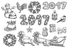 Vector sketch symbols for 2017 Christmas, New Year. Christmas, New Year isolated sketch icons set. Vector Rooster cock symbol, santa sleigh with reindeer, 2017 Stock Photography
