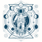 Vector sketch of a tattoo with astronaut in a space suit and moon phases. Vector illustration of a astronaut in a space suit in the background of a night starry Stock Image