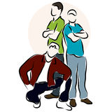 Vector sketch of the three young men. Royalty Free Stock Photo