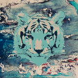 Vector sketch of a tiger's face on watercolor Royalty Free Stock Photography