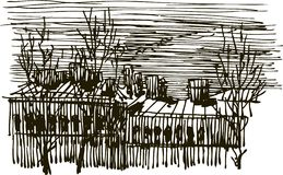 City sketch. Vector sketch of town houses vector illustration