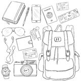 Vector Sketch Travel Set. On White Background Stock Image