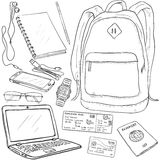 Vector Sketch Travel Set. On White Background Stock Photos