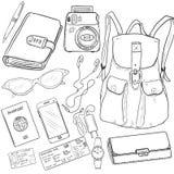Vector Sketch Travel Set Royalty Free Stock Photo