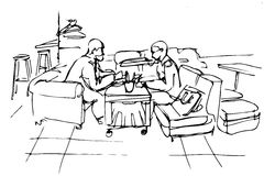 Vector sketch of two friends on a couch in a cafe Stock Images