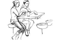 Vector sketch of two friends at a table in a cafe. Black and white vector sketch of two friends at a table in a cafe Royalty Free Stock Image