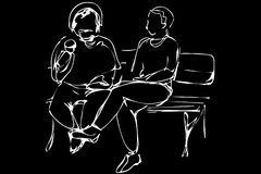 Vector sketch two men sit on a park bench Royalty Free Stock Photos