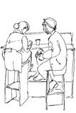 Vector sketch of two women on high stools drinking coffee Royalty Free Stock Image