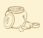 Vector sketch of Ukrainian lunch. Warm soup, bread, garlic Royalty Free Stock Photos