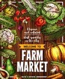 Vector Sketch Vegetables Farm Market Poster