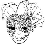 Vector sketch venetian mask. Carnival mask from venice Italy. Isolated on white Stock Image