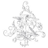 Vector sketch - vignette Valentines Day - two doves in a tree Royalty Free Stock Photo