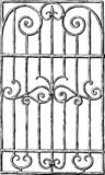 A hand drawing of a decorative window grill vector illustration