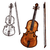 Vector sketch violin contrabass music instrument. Violin with bow string music instrument. Vector sketch symbol of musical bowing or plucking type of viola Stock Photo