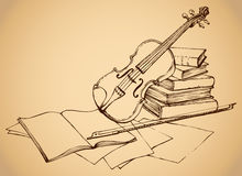 Vector sketch. Violin on old books Royalty Free Stock Images