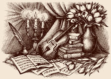 Vector sketch. Violin on old books. Still life of violin on old books and pages with notes. Vector monochrome freehand sketchy ink outline drawn backgdrop in Royalty Free Stock Image