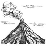 Vector sketch of the volcano. The eruption and smoke against the sky with clouds Royalty Free Stock Photography