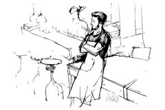 Vector sketch of a waiter in an apron in a pub Royalty Free Stock Photo