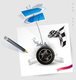 Vector sketch-wheel racing Royalty Free Stock Photos