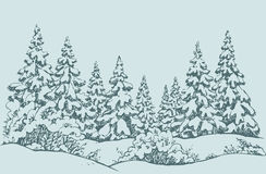 Vector sketch. Winter forest landscape with frozen river. Furry snowcovered piceas in coppice glade. Freehand outline ink hand drawn picture sketchy in art Stock Photography