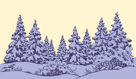 Vector sketch. Winter forest landscape with frozen river. Furry snowcovered piceas in coppice glade. Freehand outline ink hand drawn picture sketchy in art Royalty Free Stock Photos