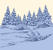 Vector sketch. Winter forest landscape with frozen river Stock Photos