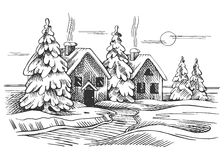 Vector sketch of the winter landscape. Two rural houses and trees Royalty Free Stock Image