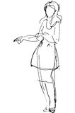 Vector sketch of a woman is pointing direction. Black and white  sketch of a woman is pointing direction Stock Photos