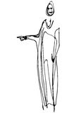 Vector sketch of a woman is pointing direction. Black and white  sketch of a woman is pointing direction Stock Image
