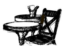 Vector sketch of a wooden chair near the round table. Black and white vector sketch of a wooden chair near the round table Stock Photography