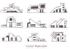 Vector sketch of wooden house royalty free illustration