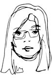 Vector sketch of a young beautiful blonde girl with glasses Stock Images