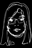 Vector sketch of a young beautiful blonde girl with glasses Royalty Free Stock Images