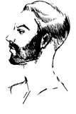 Vector sketch of a young man with a beard in profile. Black and white vector sketch of a young man with a beard in profile Stock Images