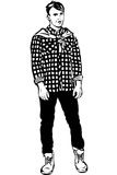 Vector sketch of a young man in a plaid shirt Royalty Free Stock Image