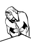 Vector sketch of a young man in a robe with a hood Royalty Free Stock Photography