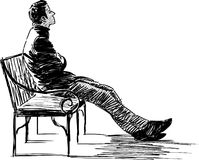 Expectation. Vector sketch of the young man sitting waiting on a bench Stock Image