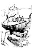Vector sketch of a young man sleeping on a table by the window i Stock Images