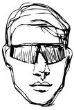 Vector sketch of a young man in sunglasses Stock Photos