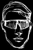 Vector sketch of a young man in sunglasses Royalty Free Stock Images