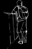 Vector sketch of a young man tourist with a backpack leaning. Black and white vector sketch of a young man tourist with a backpack leaning on the parapet Stock Photography
