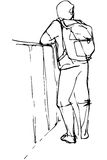 Vector sketch of a young man tourist with a backpack leaning. Black and white vector sketch of a young man tourist with a backpack leaning on the parapet Royalty Free Stock Photography