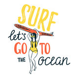 Vector sketch of young woman in swim suit silhouette holding surfboard. Royalty Free Stock Image
