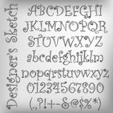 Vector sketched alphabet. Abstract vector illustration of a pencil sketched alphabet Stock Image