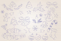 Vector sketched christmas icons Royalty Free Stock Photo