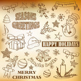 Vector sketched christmas icons Royalty Free Stock Image