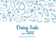 Vector sketched dairy elements sale illustration. With place for text Royalty Free Stock Images