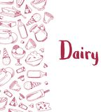 Vector sketched dairy products illustration. Vector banner poster with sketched dairy products illustration with place for text Stock Photography
