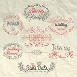 Vector Sketched Design Elements on Crumpled Stock Photo