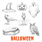 Vector sketched elements of Halloween celebration Royalty Free Stock Photography